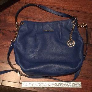 Navy Blue MK leather shoulder bag